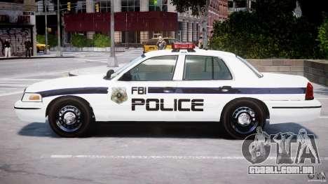 Ford Crown Victoria 2003 FBI Police V2.0 [ELS] para GTA 4 traseira esquerda vista