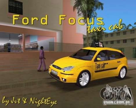 Ford Focus TAXI cab para GTA Vice City vista direita
