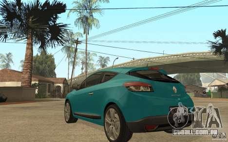 Renault Megane 3 Coupe para GTA San Andreas traseira esquerda vista