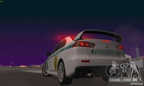 Mitsubishi Lancer Evolution X polícia do Cazaqui para vista lateral GTA San Andreas