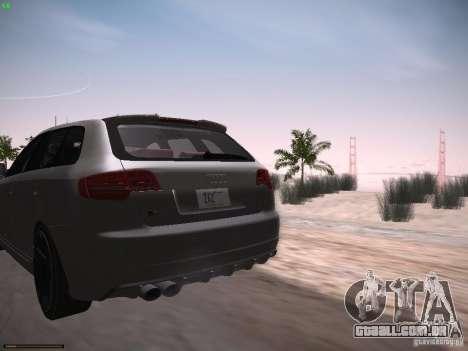 Audi RS3 2011 para GTA San Andreas traseira esquerda vista