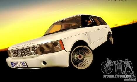 Range Rover Supercharged para GTA San Andreas traseira esquerda vista
