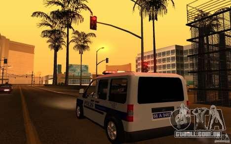 Ford Transit Connect Turkish Police para GTA San Andreas traseira esquerda vista