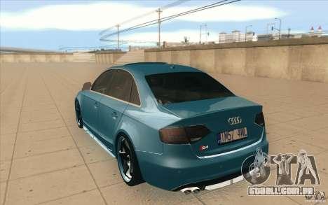 Audi S4 2009 para GTA San Andreas traseira esquerda vista