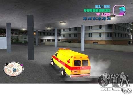 Ford Econoline E350 Ambulance para GTA Vice City deixou vista