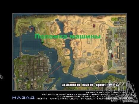 Viagem de carro para GTA San Andreas por diante tela