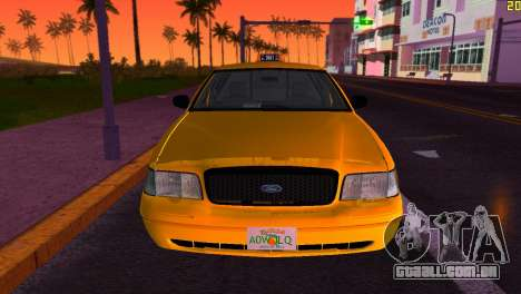 Ford Crown Victoria Taxi 2003 para GTA Vice City vista traseira