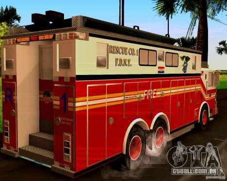 Pumper Firetruck Pierce F.D.N.Y para GTA San Andreas esquerda vista