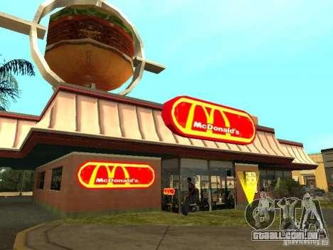 Mc Donalds para GTA San Andreas décimo tela
