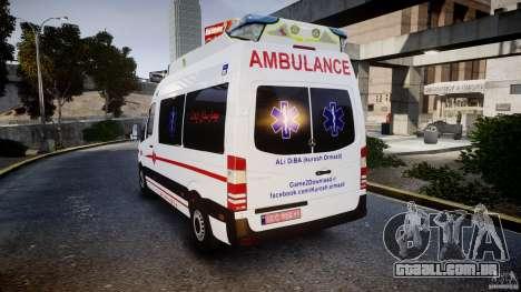 Mercedes-Benz Sprinter Iranian Ambulance [ELS] para GTA 4 traseira esquerda vista