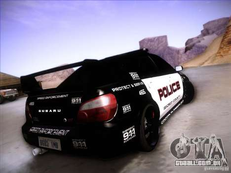 Subaru Impreza WRX STI Police Speed Enforcement para GTA San Andreas vista superior