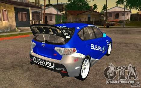 Novos vinis para Subaru Impreza WRX STi para GTA San Andreas vista interior