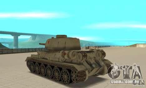 Tanque T-34-85 para GTA San Andreas traseira esquerda vista