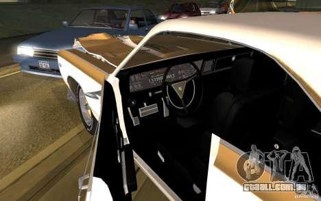 Chrysler 300 Hurst 1970 para GTA San Andreas vista interior