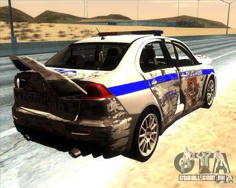 Mitsubishi Lancer Evolution X PPP polícia para o motor de GTA San Andreas