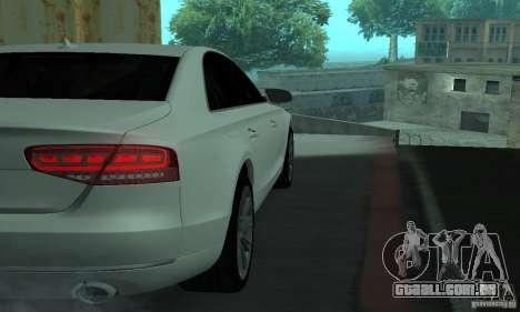 Audi A8 para GTA San Andreas vista interior