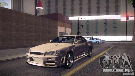 Nissan Skyline R34 para GTA San Andreas vista interior