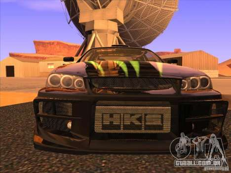 Nissan Skyline R34 Tunable para GTA San Andreas vista inferior