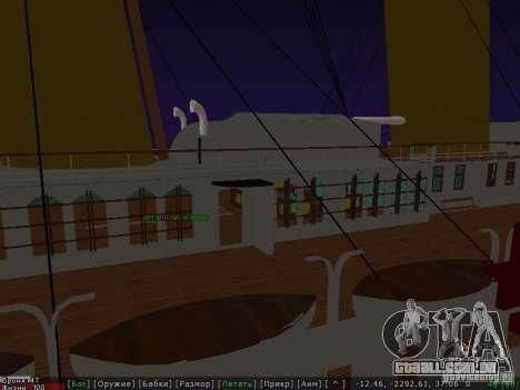 HMHS Britannic para GTA San Andreas vista traseira