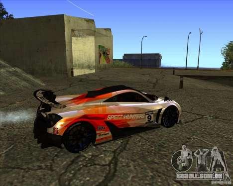 Pagani Huayra SHE para GTA San Andreas traseira esquerda vista