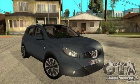 Nissan Qashqai 2011 para GTA San Andreas vista traseira