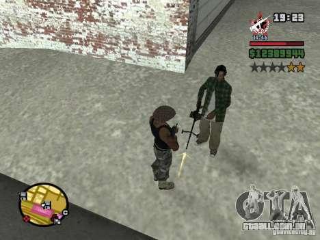 Um guarda de segurança para o CJ com miniganom para GTA San Andreas segunda tela