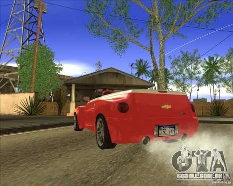 Chevrolet SSR para GTA San Andreas traseira esquerda vista