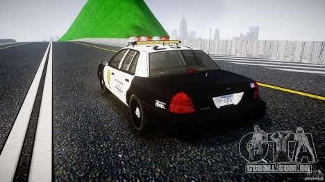 Ford Crown Victoria Raccoon City Police Car para GTA 4 traseira esquerda vista