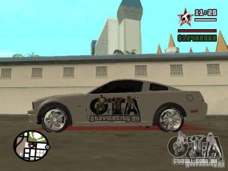 Ford Mustang para GTA San Andreas esquerda vista