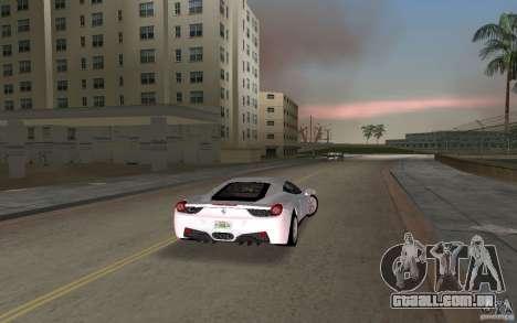 Ferrari 458 Italia para GTA Vice City vista direita