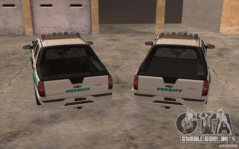 Chevrolet Avalanche Orange County Sheriff para GTA San Andreas vista traseira