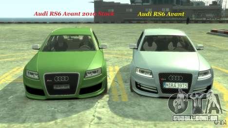 Audi RS6 Avant 2010 Stock para GTA 4 vista inferior