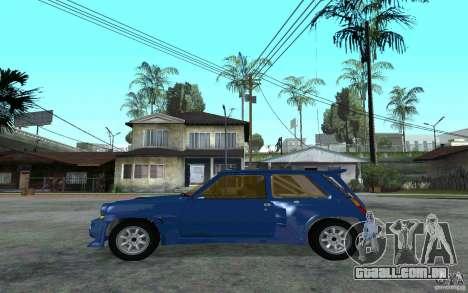 Renault 5 Maxi Turbo para GTA San Andreas esquerda vista