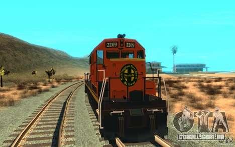 Locomotiva SD 40 da União do Pacífico BNSF para GTA San Andreas vista direita