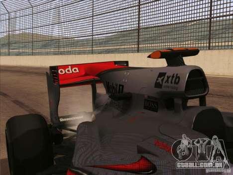 McLaren MP4-25 F1 para GTA San Andreas vista traseira