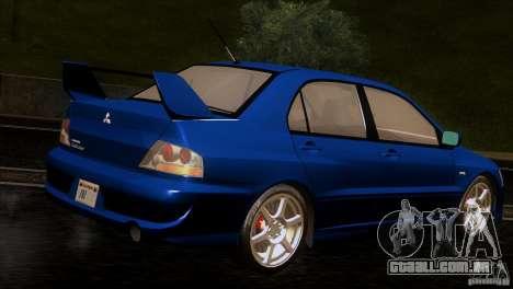 Mitsubishi Lancer Evolution IIIV para GTA San Andreas vista direita