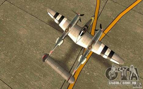 P38 Lightning para GTA San Andreas vista direita