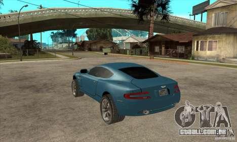 Aston Martin DB9 do NFS MW para GTA San Andreas traseira esquerda vista