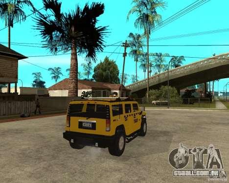 AMG H2 HUMMER TAXI para GTA San Andreas traseira esquerda vista