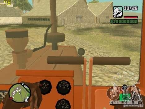 Tractor DT-75 carteiro para GTA San Andreas vista interior