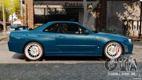 Nissan Skyline GT-R R34 Fast and Furious 4 para GTA 4 esquerda vista