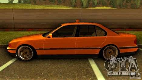 BMW 730i Taxi para GTA San Andreas esquerda vista
