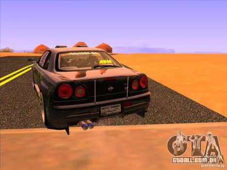 Nissan Skyline R34 Tunable para GTA San Andreas traseira esquerda vista
