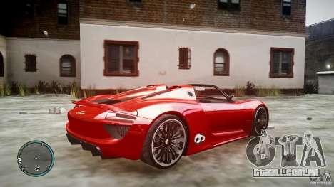 Porsche 918 Spyder Concept para GTA 4 esquerda vista