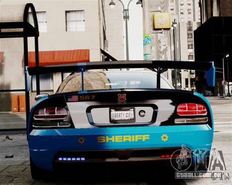 Dodge Viper SRT-10 ACR 2009 Police ELS para GTA 4 vista direita