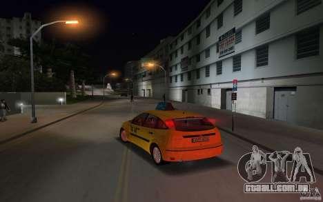 Ford Focus TAXI cab para GTA Vice City vista traseira esquerda