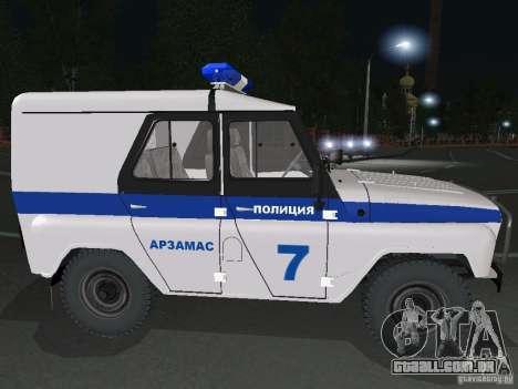 UAZ-31512 polícia para GTA San Andreas vista direita