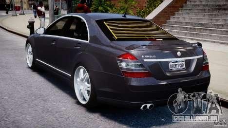 Mercedes-Benz S-Class W221 BRABUS SV12 para GTA 4 traseira esquerda vista