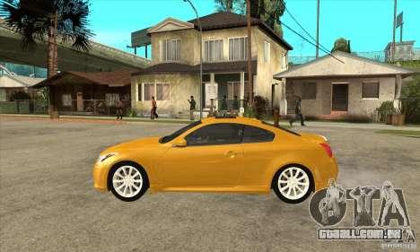 Infiniti G37 Coupe Sport para GTA San Andreas traseira esquerda vista