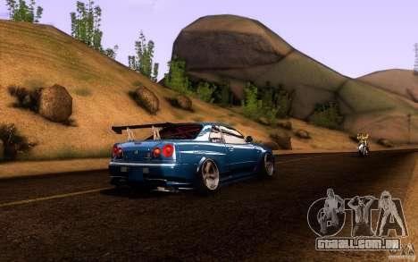Nissan Skyline GT-R34 para GTA San Andreas vista interior